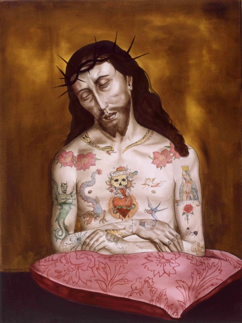 gartner-marianna_tattoed-jesus_2004_oel-und-acryl-auf-leinwand_90-x-65-cm_olbricht